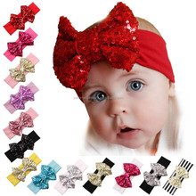 Wholesale Large Sequin Bow Cotton knot headband infant toddlers baby headband