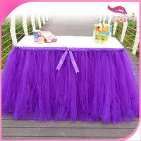 Zhejiang factory hot sale purple tulle ruffled table skirt add dot purple ribbon for wedding,party,birthday,festival, event