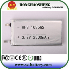 power tools li-polymer battery 3.7v 2300mah rechargeable polymer battery 103562 with light weight high capacity
