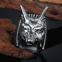 Animal rings cool design stainless steel casting wolf ring
