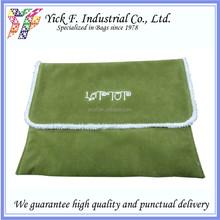 Simple Green Polyester Velvet 10 inch Laptop bag / laptop sleeve