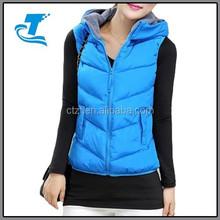 2015 Fashion Winter Women Cotton Vest With Hood
