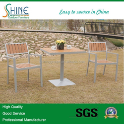 teak with aluminum chairs with table set (2+1) SCAF041