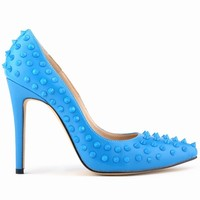 new design fashion high heel ladies dress shoes with studs in china