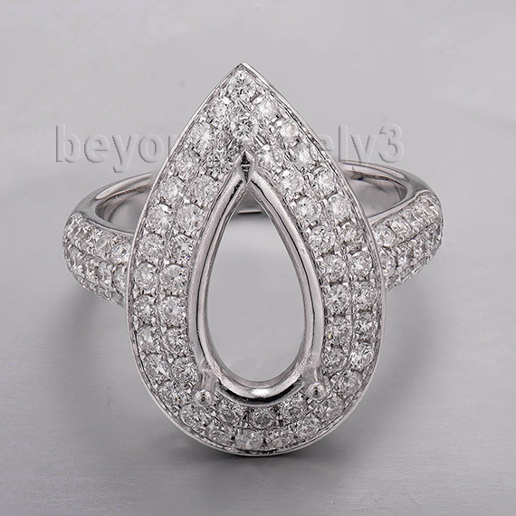 Pear 8x12mm Ring Mounts Without Stones With 18kt White Gold Natural Diamond