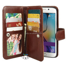 9 Card Slots Magnetic Detachable Back Cover Wallet Flip Leather Case For Samsung Galaxy S6 Edge Brown