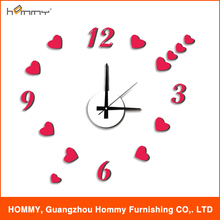 2015 reloj venta caliente, etiqueta de la pared del reloj 3d de reloj para la decoración del hogar