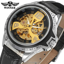 Design best-selling winner skeleton with gold color san-flower automatic saat
