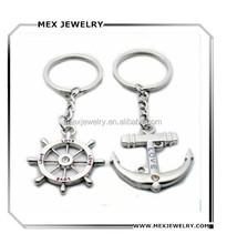 Couple Nautical Steering Wheel Anchor Charms Love Keychain Key Ring
