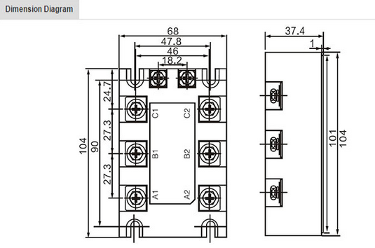 three phase dc  ac 25a 40a 120a solid state relay control