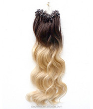 18-26 inch Bdoy Wave Two Tones Ombre Micro Ring Hair Extension 100 strand/set Gradient Micro Hair Loop Extension
