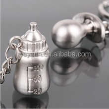 cute Korean jewelry Pacifiers baby bottles Lover's keychains -Baby shower souvenir gifts Key Chain