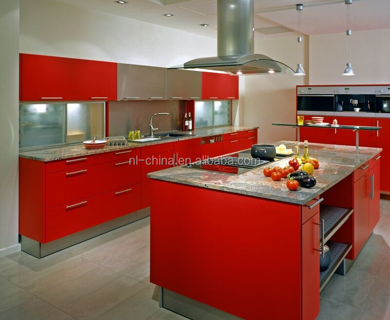 red high gloss painting best quality aluminium kitchen cabinet design