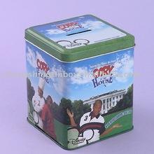 Square saving tin box money tin can coin tin case