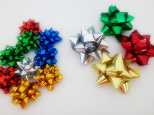 Newest High Quality Glitter /Metallic Star Ribbon Bow For Gift Packing Or Holiday Decoration