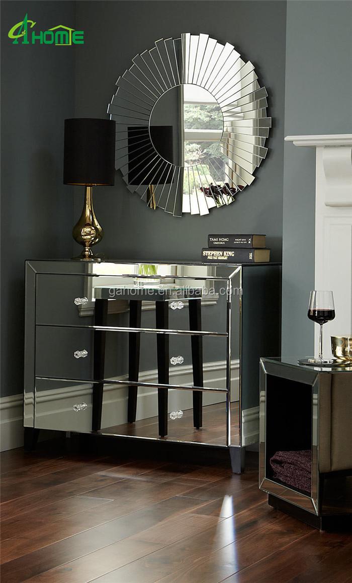 Nieuwste moderne duidelijke mooie spiegelglas 3 laden dressoir ...