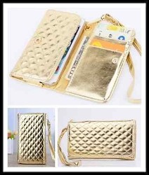 2015 Hot Selling Luxury Leather Gold Wristlet Purse Wallet Case For Cell Phone