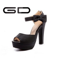 New Arrival Top Quality Designer Black Sandals High Heel Woman Shoes 2014