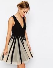 Mesh Insert Fit And Flare V Neck Mini Dress