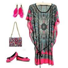 Bestdress party design clothes Ladies Fashion Fashion Women Cheap Batwing-Sleeve Retro Print Ice Silk Dress 19842