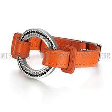 Pulsera de acero inoxidable banda reloj de pulsera de cuero NSB429