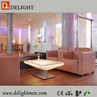 White plastic rgb led nightclub coffee table/ luminous led coffee table with top glass