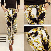Men's Sexy Leopard Special Gold Flower Pattern Retro Cool Long Pants Trousers