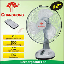 rechargeable table fan with led light with remote