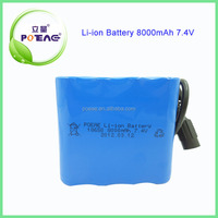 18650 high energy lithium ion battery 7.4V 8000mAh new product