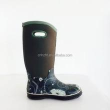 Fashion high quality camo neoprene high rain boots for adults