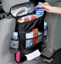 Multi-Pocket Travel Storage Bag/Insulated Car Seat Back Drinks Holder Cooler / Storage Bag Cool Wrap Bottle Bag with Mesh Pocket