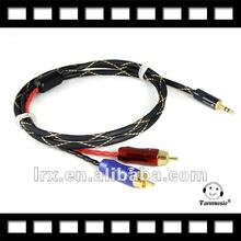 Professional cable 3.5mm to 2 RCA Audio Adapter Cable for iPod/MP3