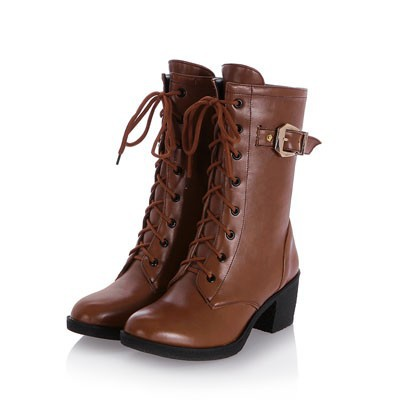 ENMAYER New 2015 Women Boots Round Toe Lace-Up Buckle Mid-Calf
