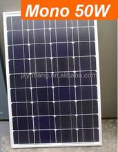 High Efficiency YB125M36-50W 50 Watt 12V mono crystalline solar pv panel photovoltaic for 12V battery charge