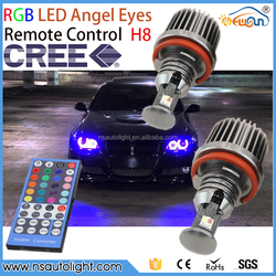 Newsun 2015 new car accessories products H8 rgb led angel eyes colors bulb with infrared controller for BMW