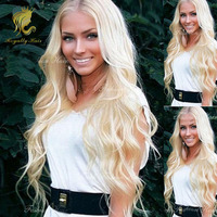 New ali product 100 top remy human hair can be dyed middle part blonde body wave wigs with bleached knots