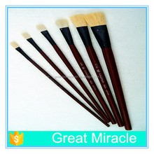 Wholesale artist paint brush set 6 pcs per set white wool hair flat head paint brushes for artist supplies
