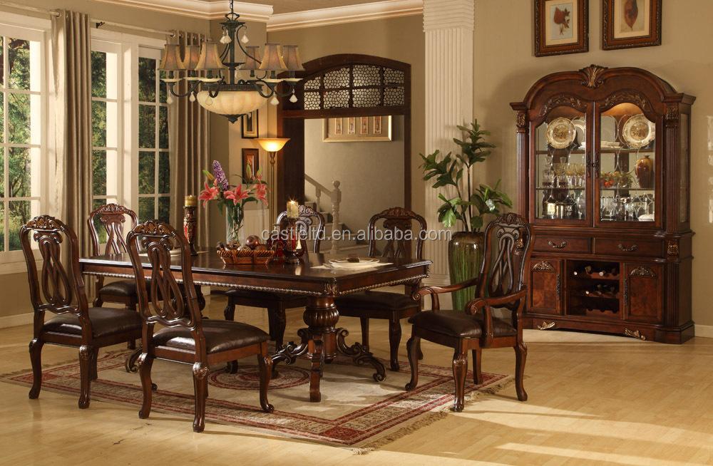 Luxe antique bois salle manger ensemble accueil h tel for Salle a manger de luxe en bois