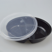 whole sale plastic disposable lunch bento box 2 compartment round