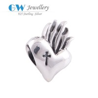 bulk fashion jewelry china cross heart hand shape charm in sterling silver