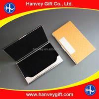 Stainless Steel Metal And Orange PU Monogram Business Card Holder Case