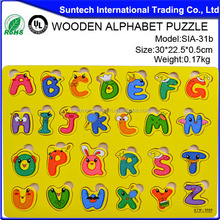 2015 New Arrival Handmade 26 Letters Toy Wooden Alphabet Puzzle