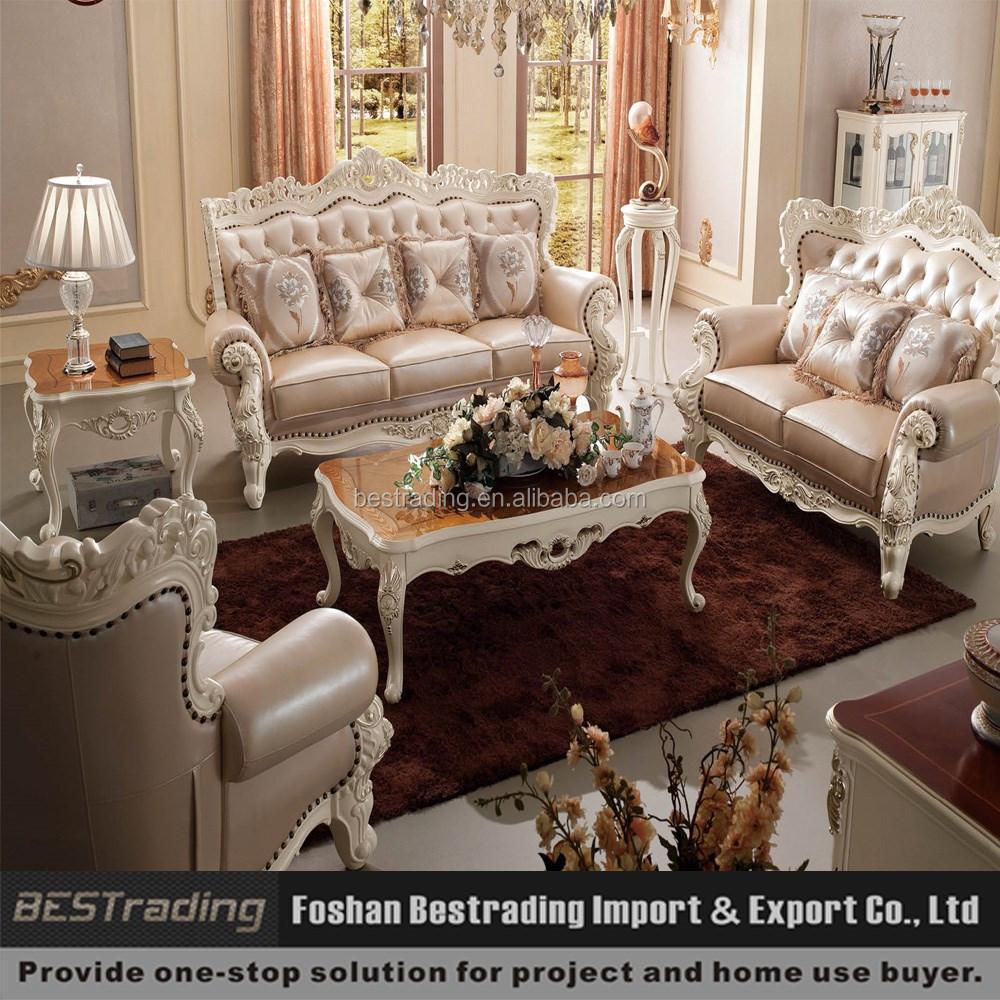 Witte leren bank, klassieke franse antieke bank, luxe sofa set met ...