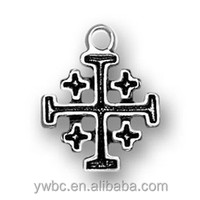 Free Shipping Antique Silver Plating Christian Cross Religious Charms Wholesale