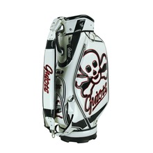 pu leather man golf staff bags manufacture, custom embroidery brand logos design