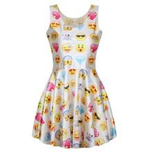 VT223 Hot selling milk silk slim sexy party women's summer dresses QQ emoji Expression 2015 new style 3D printed pleated skater