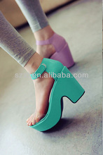 latest summer 2014 chunky heel PVC sandals thick heel sandal for women