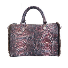 New Product Handmade Genuine Leather Bag Luxury Python Snake Skin Tote Handbag for Women