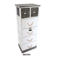 Shabby Cottage Chic Side End Table 6 drawer White French Style Wood Cabinet