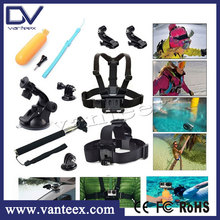 GoPros HEROs Action Camera HD Camcorder Accessory + Head Strap + Chest Strap + Monopod Accessory kit for Go pro